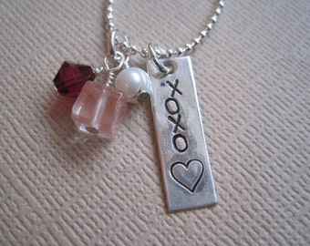 Sterling Silver Handstamped XOXO Necklace with  Pearl and Rose Quartz, Swarovski Crystals