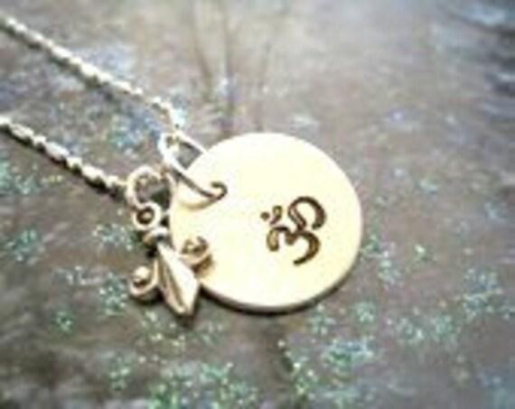 OM Disc and Fleur De Lis Charm Sterling Silver - Handstamped Yoga Necklace