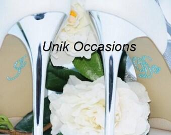 "Wedding Shoes Pearl ""I Do"" Shoe Applique Stickers Blue"