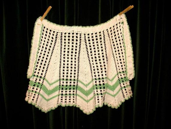 Vintage Hand Crocheted HOSTESS APRON Folk Art - One of a Kind - OOAK