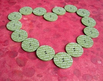 Love 25mm Coconut Shell Scrapbook Buttons