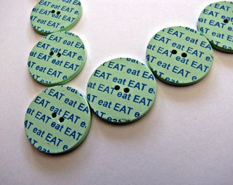 Candy Colored Eat Buttons 25mm, 6pcs