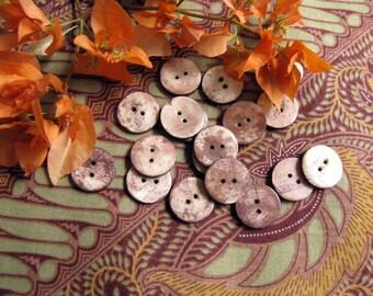 Laksamana 17mm Brown Bone Buttons, 8pcs
