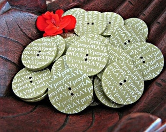 Pray 25mm Coconut Shell Scrapbook Buttons 6pcs