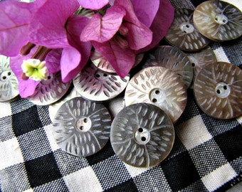 Panen 20mm Etched Shell Buttons, 6pcs