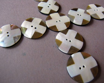 Hot Cross Buttons in Mother of Pearl Shell 20mm, 6pcs