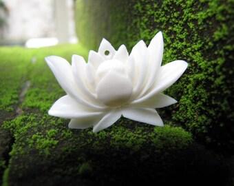 Eternity Lotus Carved Bone Pendant Bead