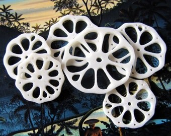 Slice of Life Carved Bone Bead Set, 6pcs