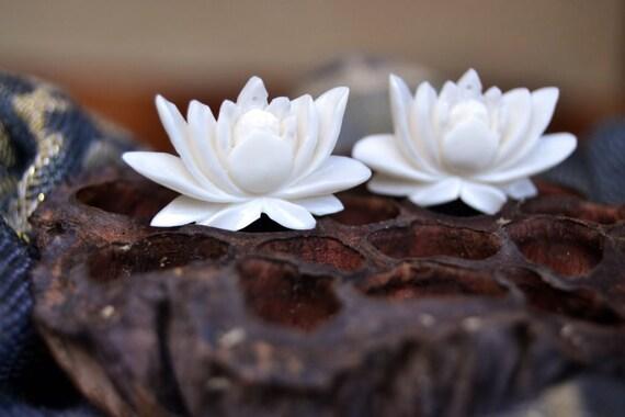 Eternity Lotus Beads Carved Bone Earring Pair