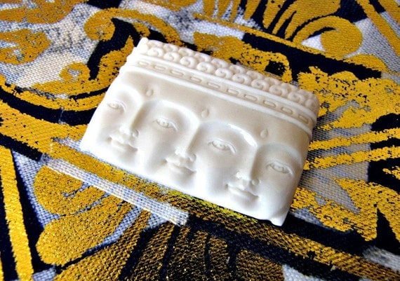Triple Truth Buddha Carved Bone Cabochon 40mm