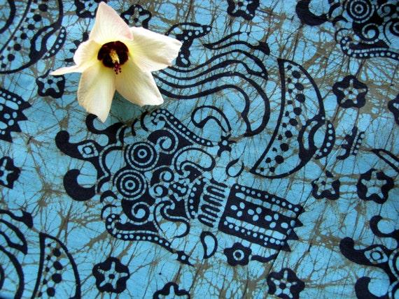 Barong Motif Teal Blue Green Batik Fabric