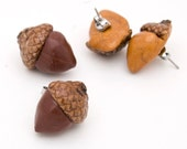 Acorn stud earrings - real caps adorable polymer clay for every season - select a color