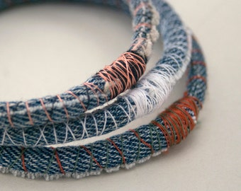 ONE (1) denim bracelet - upcycled repurposed jean bangle - made to order in your size and thread colors -  as seen in Green Craft Magazine