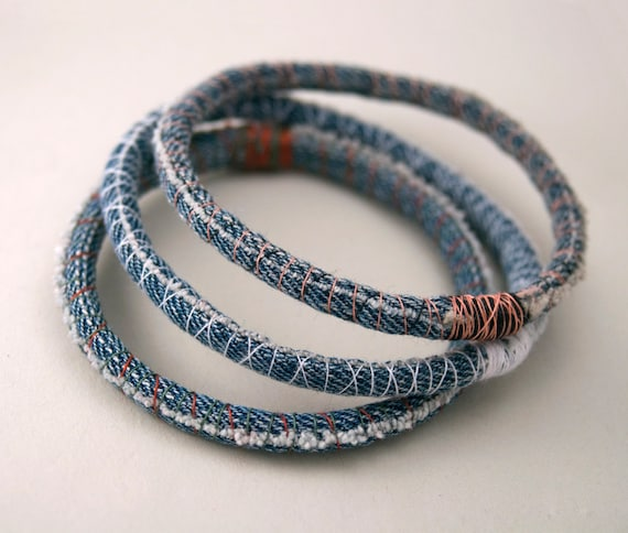Three (3) denim bracelets - upcycled scrap fabric bracelet - repurposed jeans - bangles - made to order in your size and thread colors