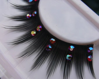 Guilty Pleasures - Ultra Sparkly Exclusive False Eyelashes with Red- Gold Preciosa Crystal Diamante for all PinUp Divas