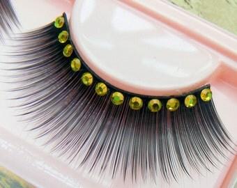 Sour Puss  - Ultra Sparkly Exclusive False Eyelashes with Yellow Preciosa Crystal  Diamante for all PinUp Divas