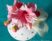 Cunene Pink Flowers Pin-up Cocktail Hat
