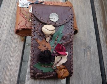 Dark brown leather cigarette case , digital camera case or  card case with rosebuds 3D