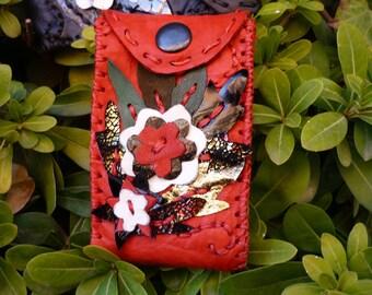 Red Leather Hand Stitched cigarette case , digital  camera case or card case