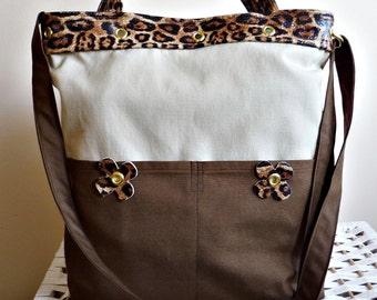 Waterproof Khaki and  Brown Handbag  Messenger bag /Shoulder Bag/Laptop Bag / Diaper Bag / Travel Bag with Leopard Leather