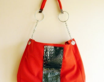 Poppy  Red and Smoked Leather Everyday bag / Shoulder Bag / Travel Bag with adjustable strap/Waterproof