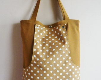 Old Gold Polka Dots  Large  Messenger bag /Shoulder Bag/Laptop Bag / Diaper Bag / Travel Bag