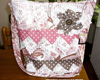 Pink  Shoulder Bag /paisley and Polka dot fabric  with  hand crocheted