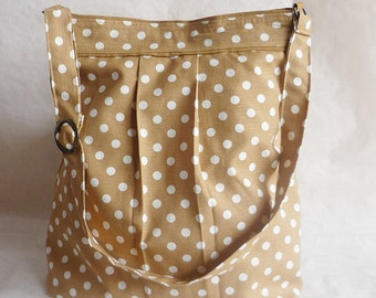 Light Brown Diaper bag-Polka Dots  large  Messenger bag /Shoulder Bag/Laptop Bag / Diaper Bag / Travel Bag