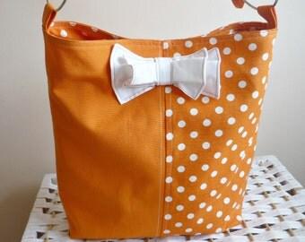Orange Polka Dots with  Bow ,Medium Diaper bag / Shoulder Bag / Cross body bag / Travel Bag with adjustable strap
