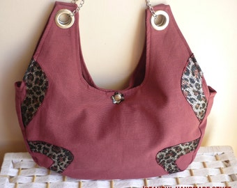 Burgundy  Shoulder Bag  with Leopard Leather Detail