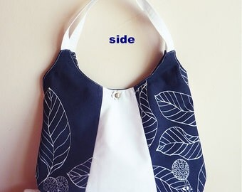 Navy and White Shoulder Bag with Leather Flowers / Large/European Canvas