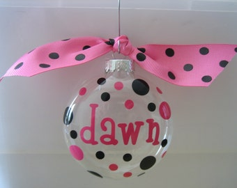 Personalized Christmas Ornaments - Pink/Black