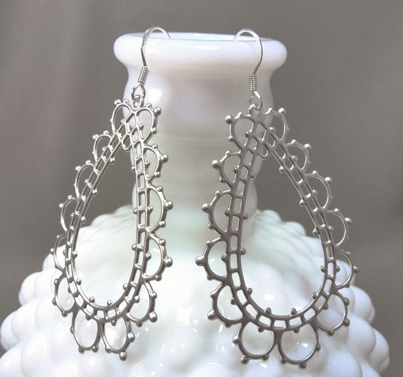 Silver Lace Drops - sterling silver earrings - FREE shipping