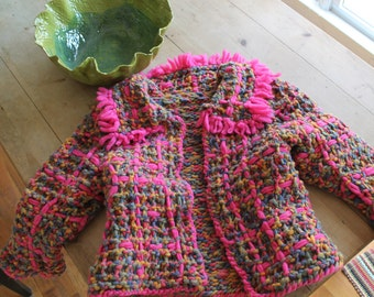 colorful thick woolbend sweater/jacket