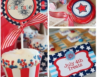 July 4th Party | 4th of July Printable | July 4th Invitation | July 4th Centerpiece | Independence Day Memorial Day | Amanda's Parties To Go