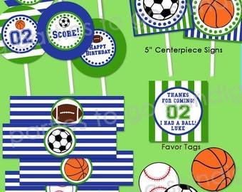 Sports Birthday Party Printable | Sports Decor | Sports 1st Birthday | Football Baseball Soccer Basketball Birthday | Amanda's Parties To Go