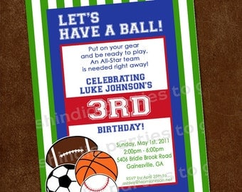 Sports Birthday Invitation | Sports Party Invitation | 1st Birthday Invitation | Football Basketball Baseball Soccer | Amandas Parties To Go