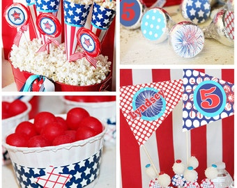 July 4th Birthday Party Decorations | July 4th Party Printables | Patriotic Birthday | July 4th Invitation | Amanda's Parties To Go