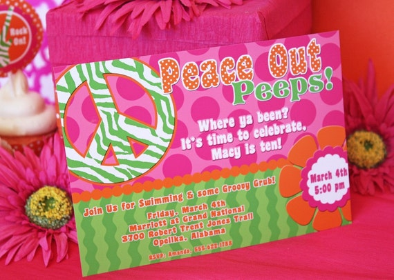 Peace Sign Invitation and Thank You Note Printable Set by Amanda's Parties To Go