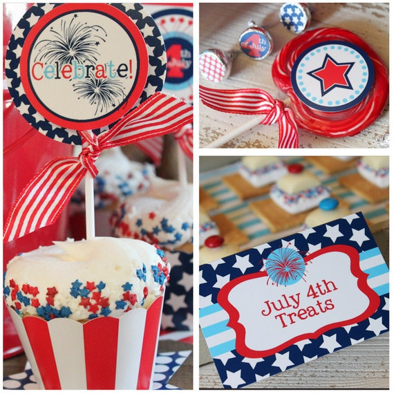 JULY 4th Party - 4th of July Printable Set - Stars and Stripes - On Sale - Full Collection with Invitation by Amanda's Parties To Go