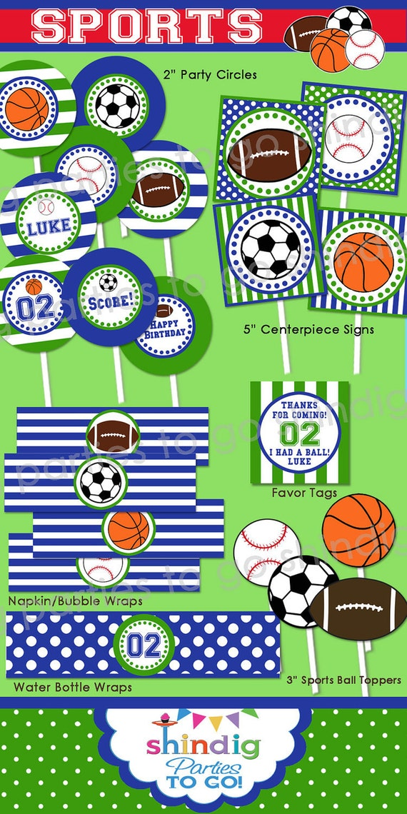 Sports Birthday Party Printable Decor 1st