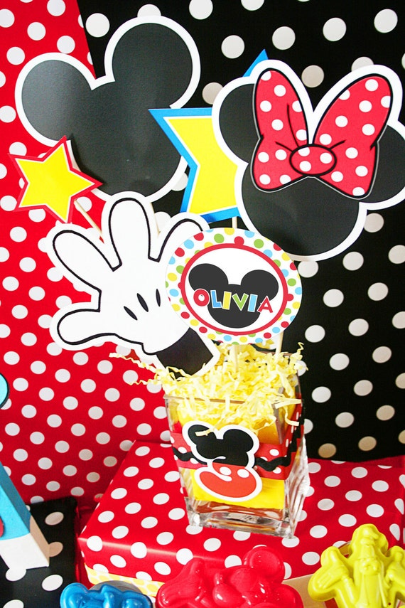 Mickey Mouse Birthday Centerpiece Mickey Mouse Party Decoration