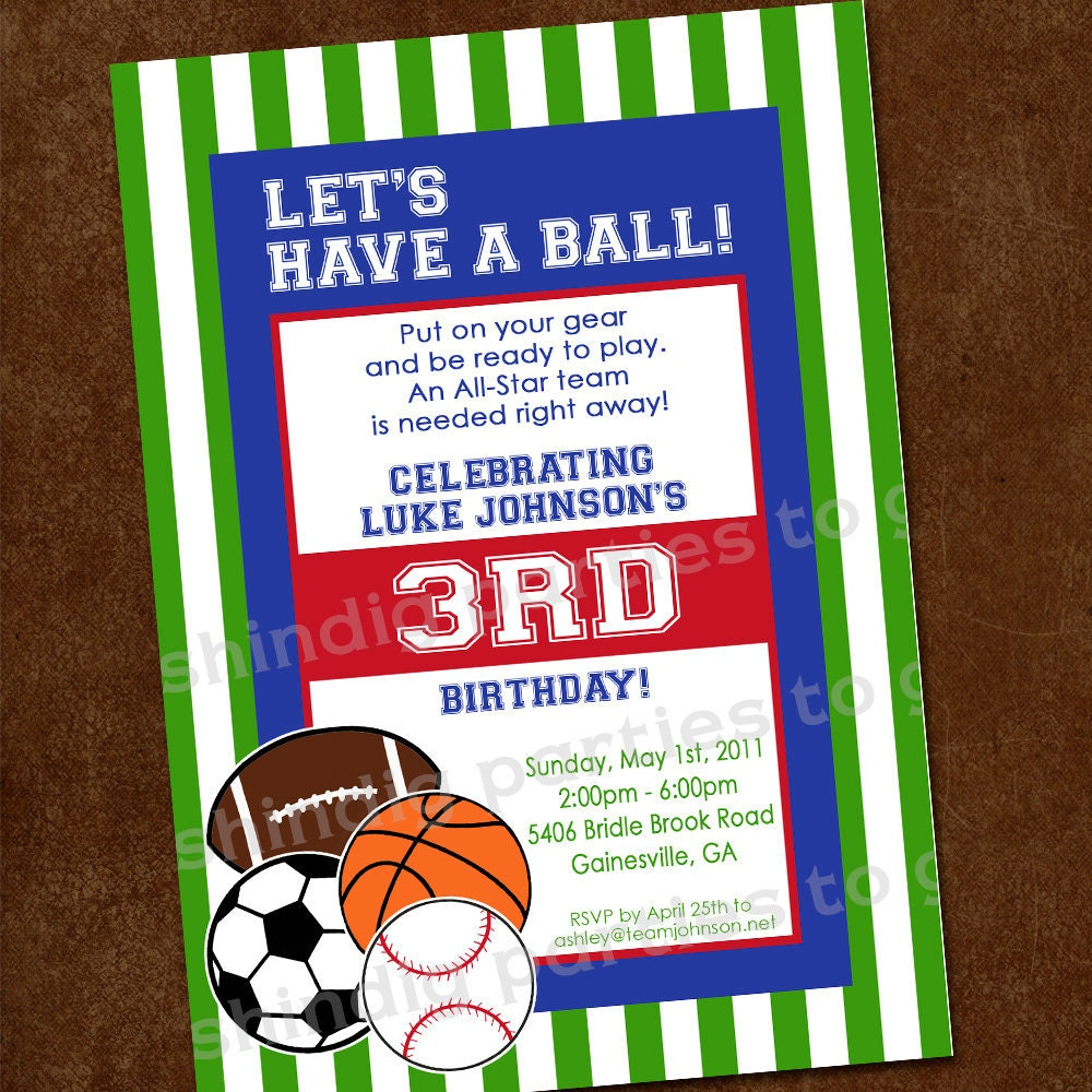 Sports Birthday Invitation Sports Party Invitation 1st