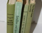 SALE Shades of Green Vintage Book Collection Instant Library , Photography Props, Decor  Set of 4