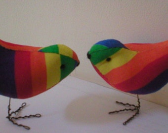 Lovely Pr. Of Rainbow Love Birds Cake Toppers  Sure to Make You Smile