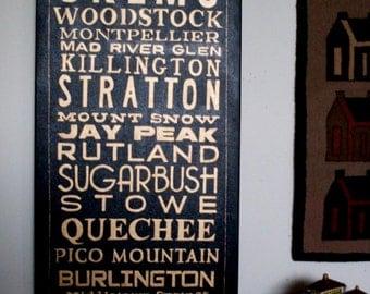 Primitive Folkart Fine Art Vermont Ski Sign LJO Collection Art Paintings You Pick Your Own Names