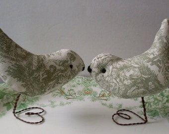 Primitive Folkart Wedding Cake Topper Green Toile Love Birds LJO Collection Love Birds