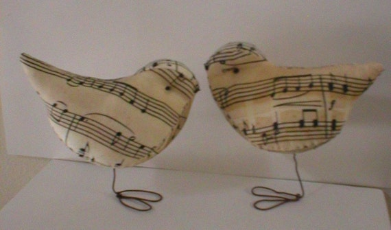 Pr. of Sweet Music Love Birds  Wedding  Baby Showers Cake Toppers / Decorations