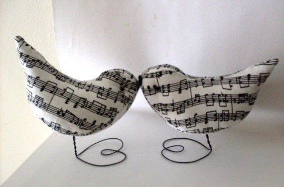Pr. of  Music Black and White Love Bird Cake Toppers LJO Collection  We ship Internationally