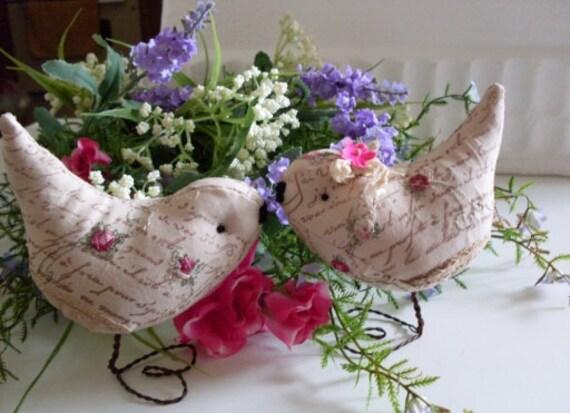 Wedding Cake Topper Pr. of  Love Birds  Roses &  French Script  Limited Edition  We Ship Internationally